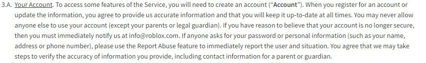 Game Developer Roblox: Account Creation cause in Terms & Conditions