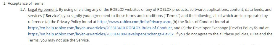 Roblox: Acceptance of Terms clause in Terms of Servic