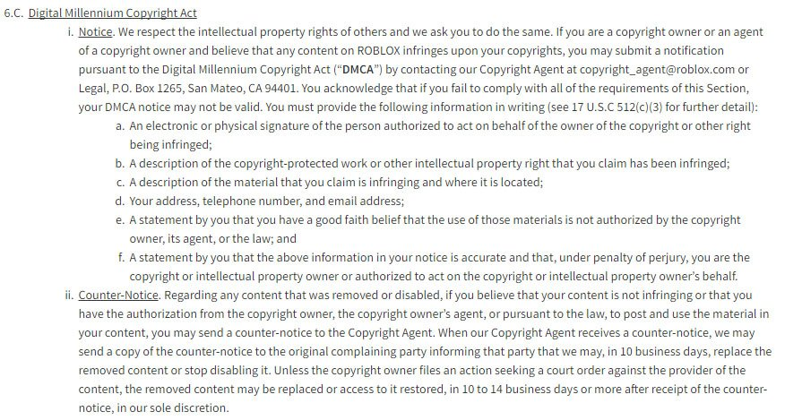 Roblox game platform: DMCA clause in Terms & Conditions