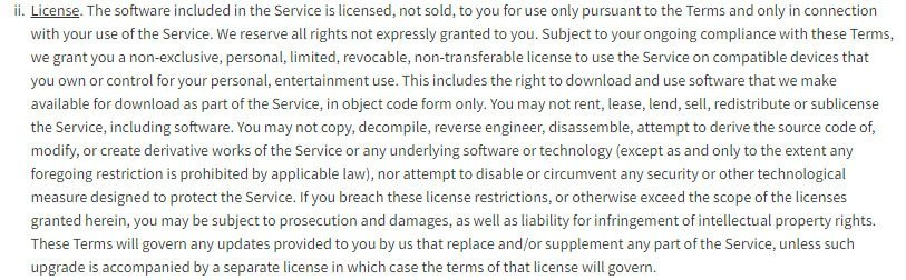 Roblox game platform: License clause in Terms & Conditions