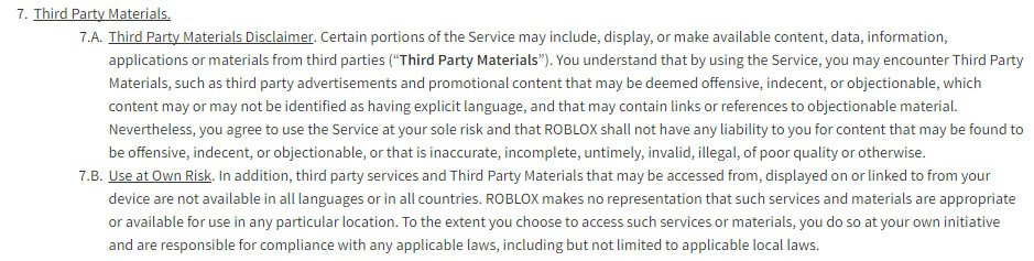 Roblox game platform: Third party materials clause in Terms & Conditions