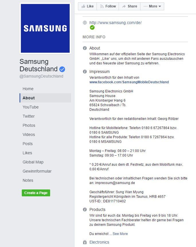 Screenshot of Impressum from Samsung Deutschland on Facebook