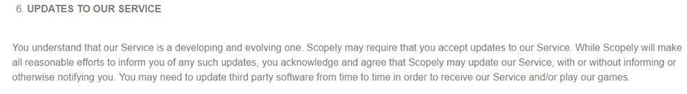 Scopely game developer: Updates clause in Terms & Conditions
