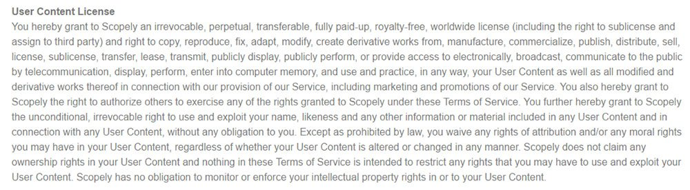Scopely game developer: User-generated content license in Terms & Conditions