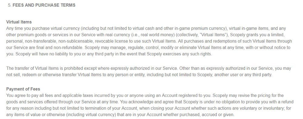 Scopely game: Fees & Purchases terms clause in Terms & Conditions