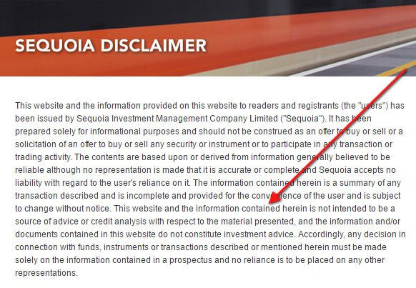 Sequoia: Investment Disclaimer