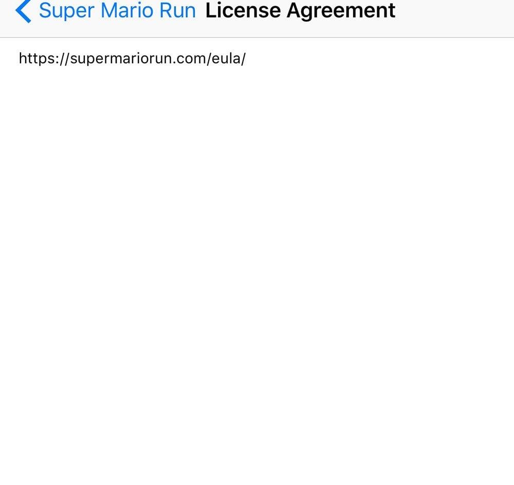 Super Mario Run: Mobile app in App Store: License Agreement text
