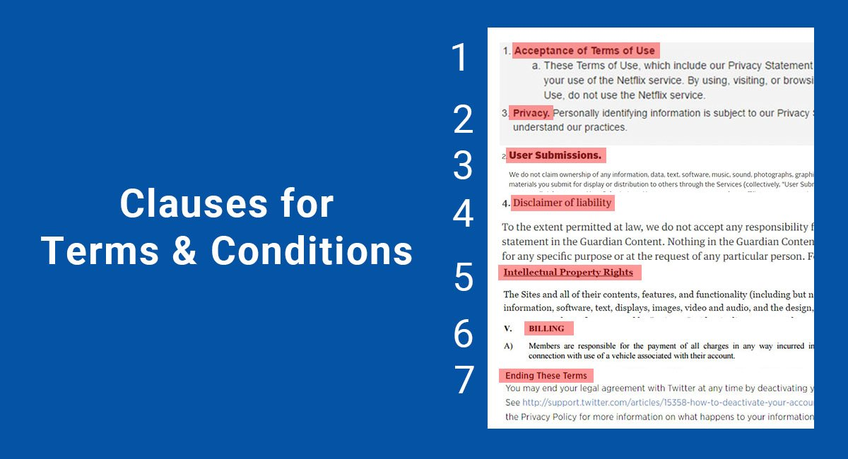 Image for: Clauses for Terms & Conditions