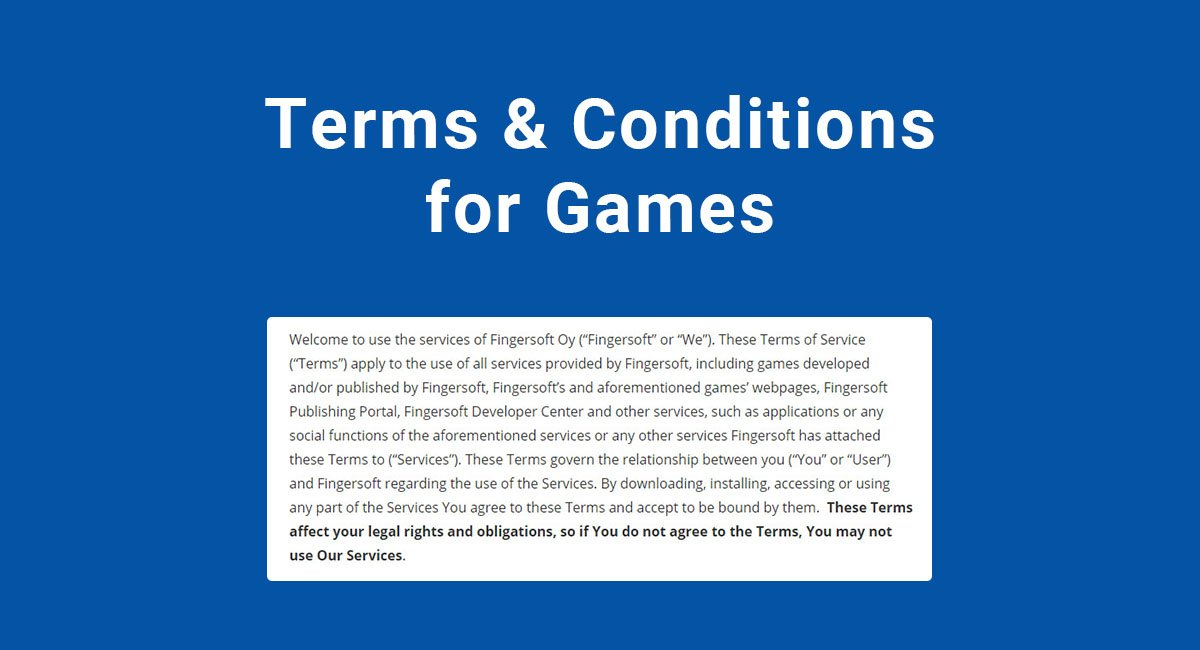 Terms & Conditions for Games