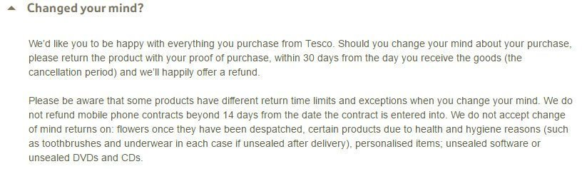 Tesco UK Return and Refund Policy: the 30-days and the 14-days time limit