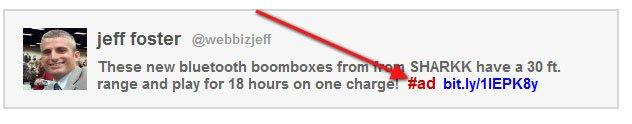 Example disclosure in tweet: Using #ad hashtag