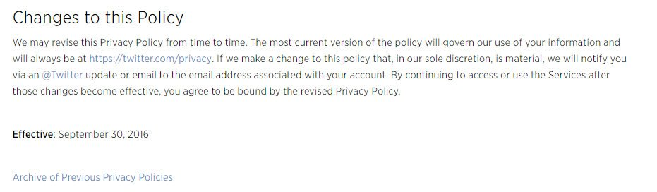 Twitter Privacy Policy: Changes and announcements