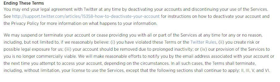 Twitter: Termination clause in Terms of Service