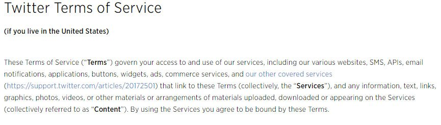 Twitter: Title is Terms of Service