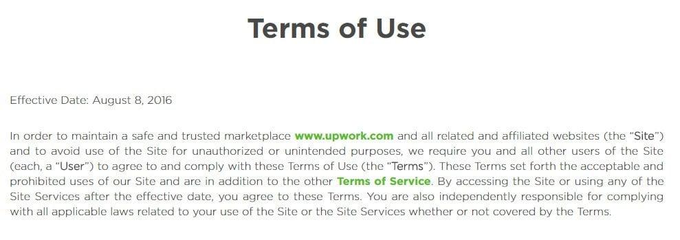 Upwork: Screenshot of Terms of Use