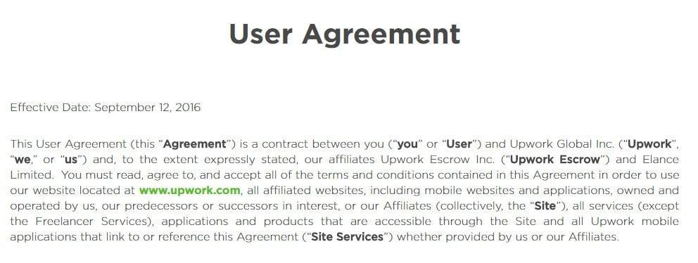 Upwork: Screenshot of User Agreement
