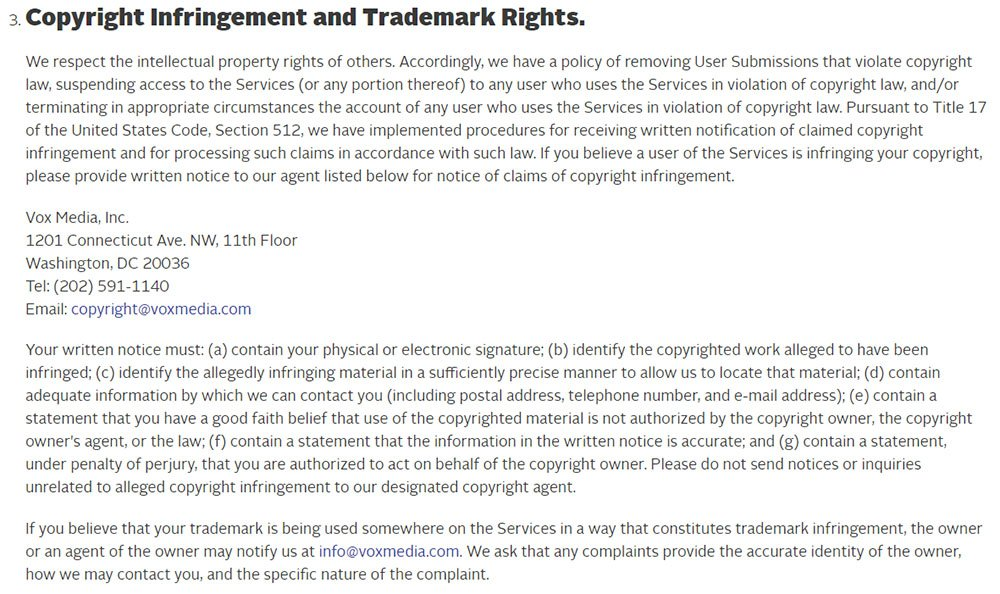 Vox Media Terms of Use: Copyright Infringement