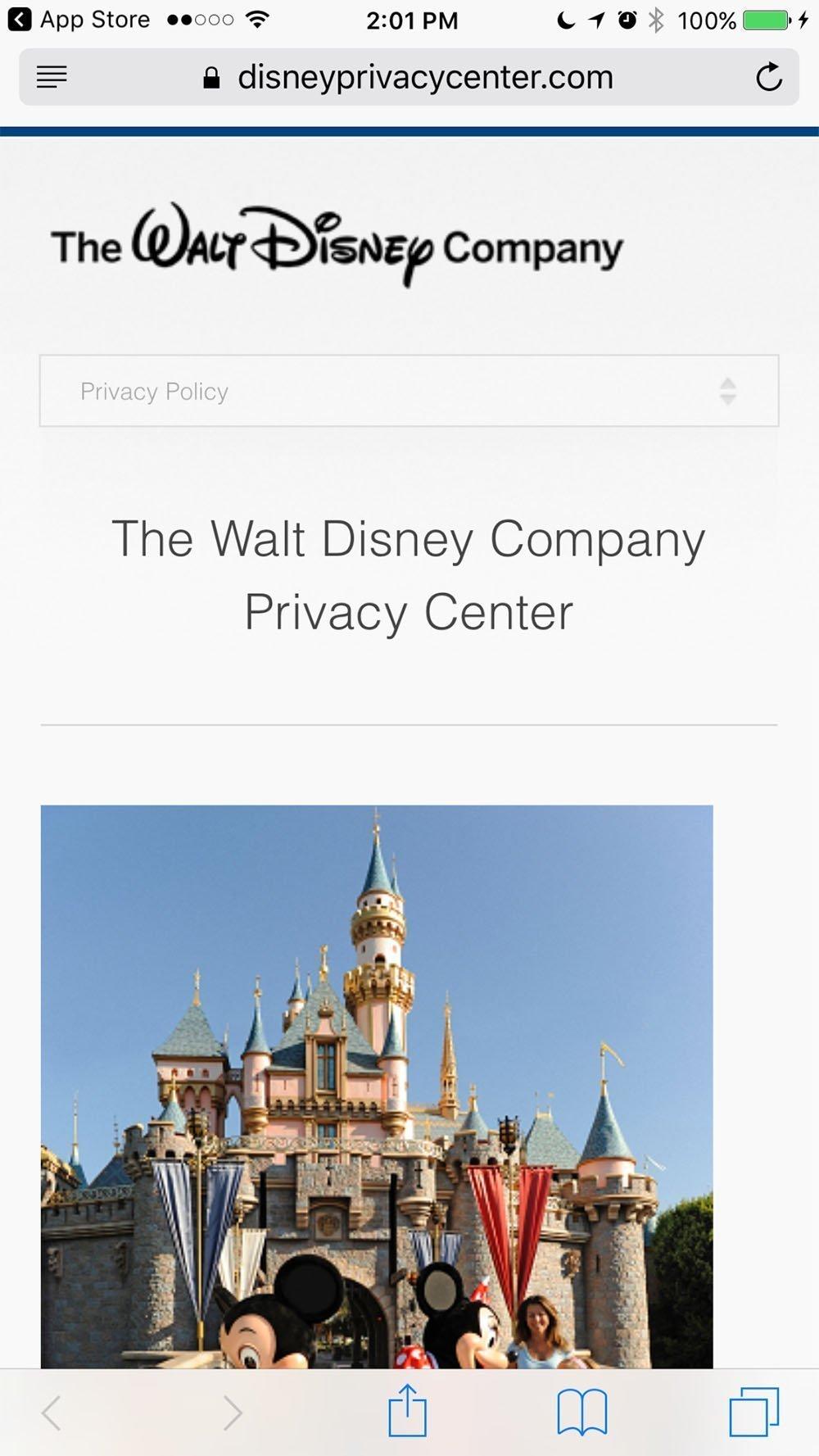Screenshot of Walt Disney Privacy Center Mobile Website