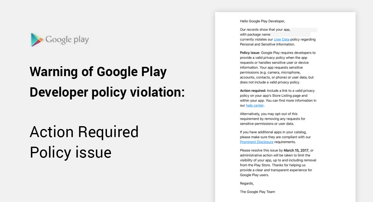 """How-to: Google Play Store Violation """"Policy Issue"""" 2017"""