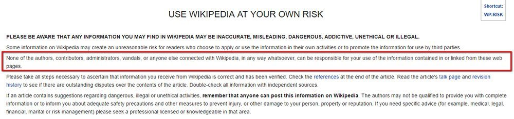 Wikipedia: Use at your own risk disclaimer highlight