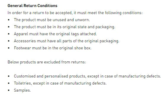 Adidas UK Return & Refund Policy: Exceptions to returns