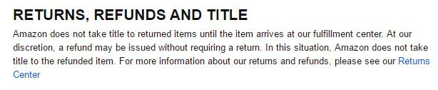 Amazon: Returns & Refunds in Conditions of Use