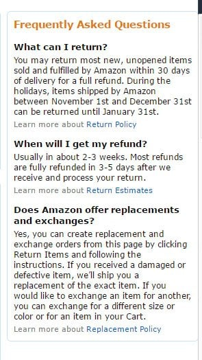 Amazon Returns Center FAQ: The Return window