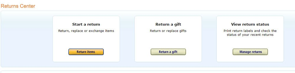 Amazon Returns Center: Options