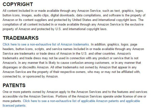 Amazon Terms and Intellectual Property: Copyright, trademarks and patents