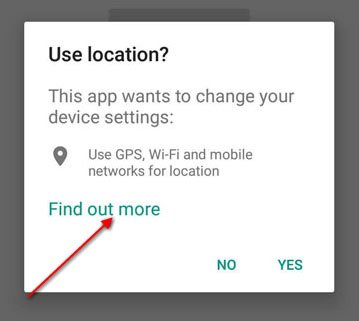 Highlight the Find out more link on Android Permissions dialog