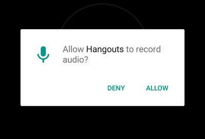 Dialog from Android: Permission to record audio