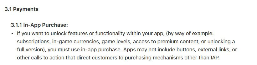 Apple App Store guidelines on in-app purchases