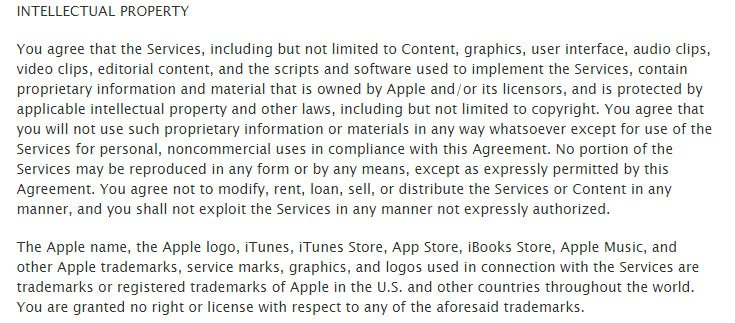Apple Terms & Conditions: Intellectual Property