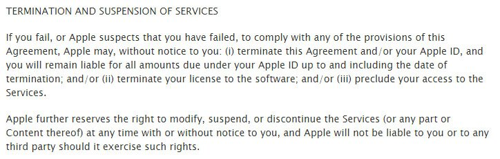Apple Terms & Conditions: Termination if intellectual property is violated