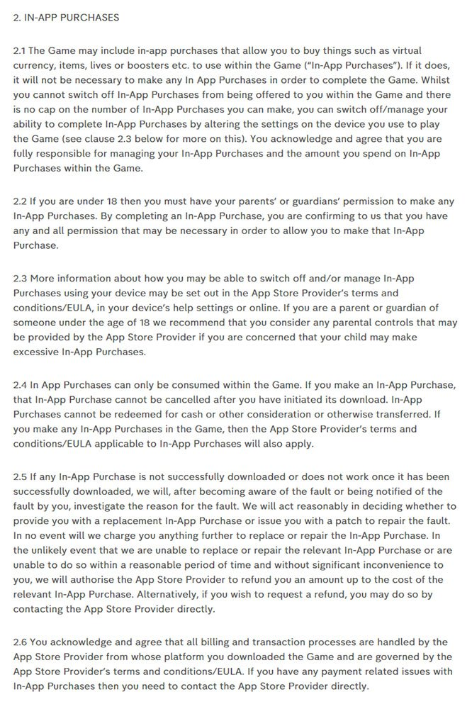 Channel 4 app Terms & Conditions: In-app Purchases