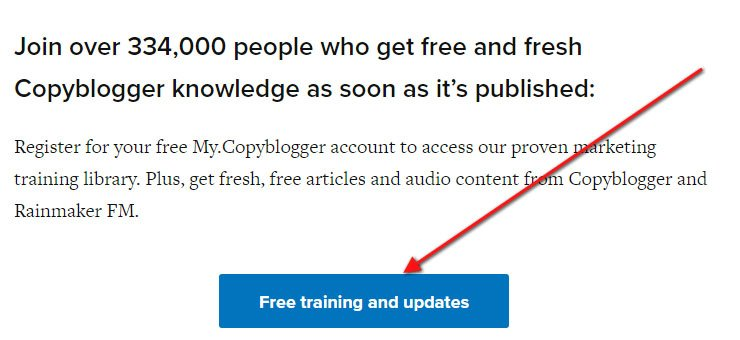 Copyblogger About Us page: Call to action button