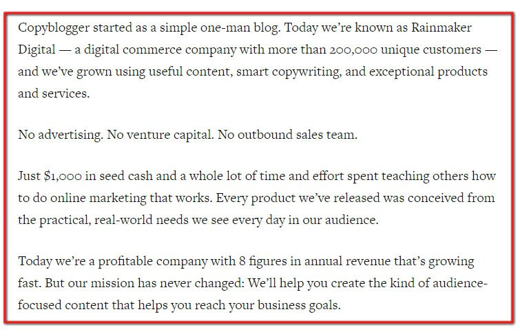 Copyblogger About Us page: Started with no advertising, no venture capital