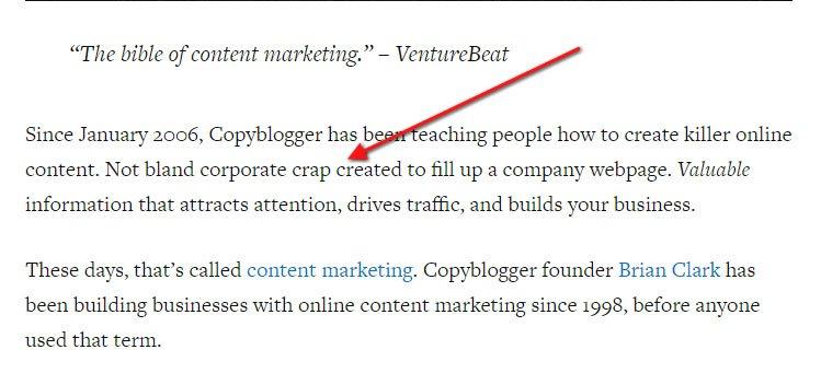 Copyblogger About Us: No crap
