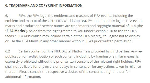 FIFA Terms of Service: Intellectual Property as Trademarks and Copyrights