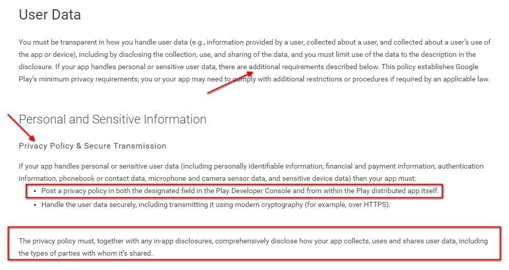 Privacy Policy requirement by Google Play Store