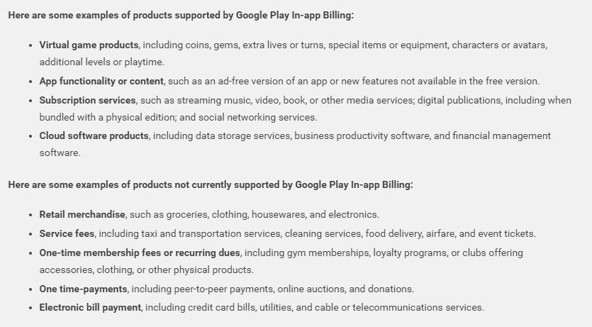 Google Play Store Developer Policy: Examples of in-app purchases