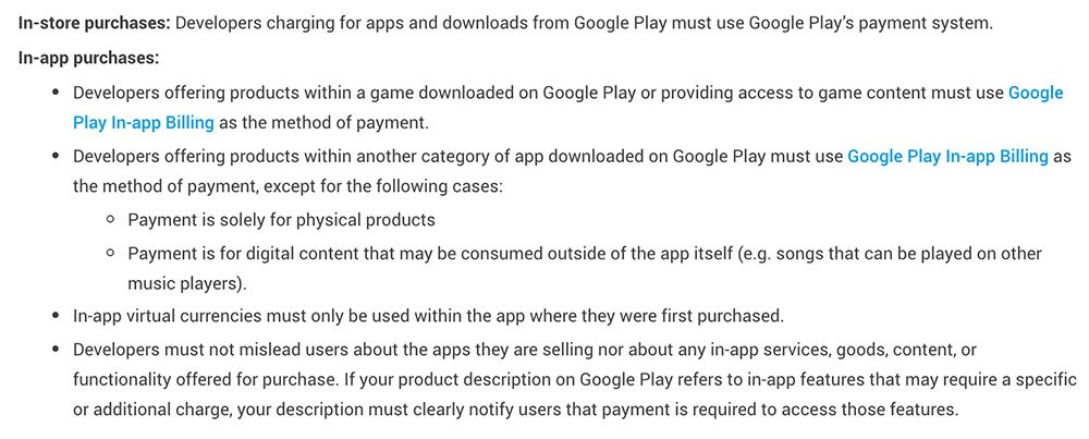 Google Play Store Developer Policy: Payments section