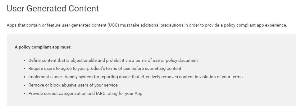 Google Play Store: Terms for Objectionable Content
