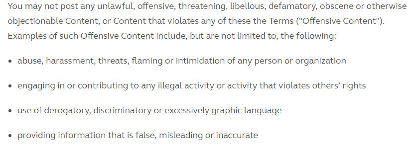 Guaana Terms of Service: Screenshot of what Content is not allowed in Objectionable Content clause
