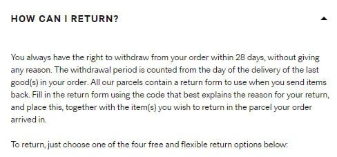 How can I return? question in H&M Online Return & Refund Policy