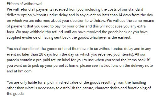 H&M Online: Right of withdrawal in Return & Refund Policy