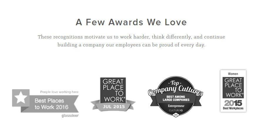 HubSpot About Us page: Awards