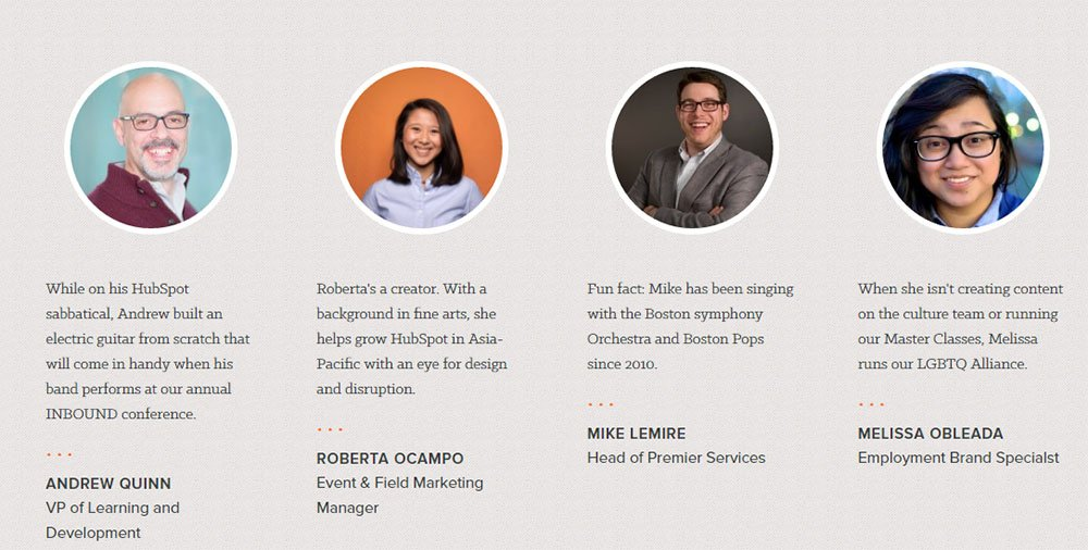 HubSpot About Us page: Profiles of people