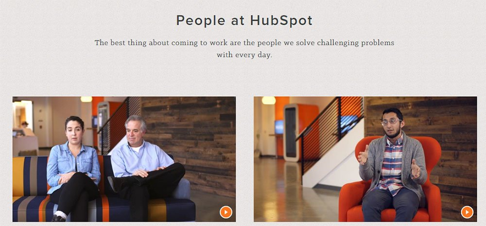 HubSpot About Us page: People videos