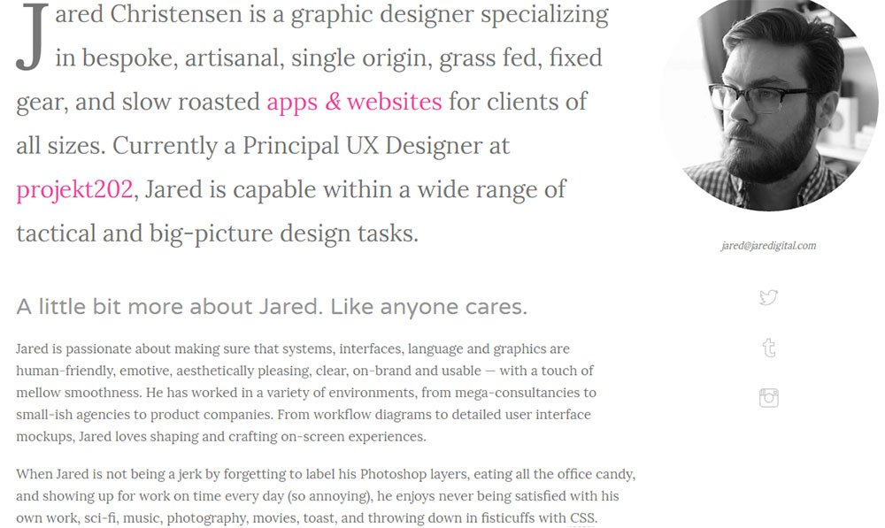The About Me page of Jared Christensen